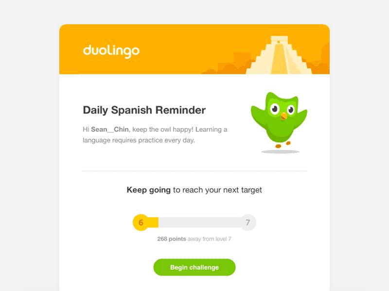 Duolingo Daily Language Reminder Email Example