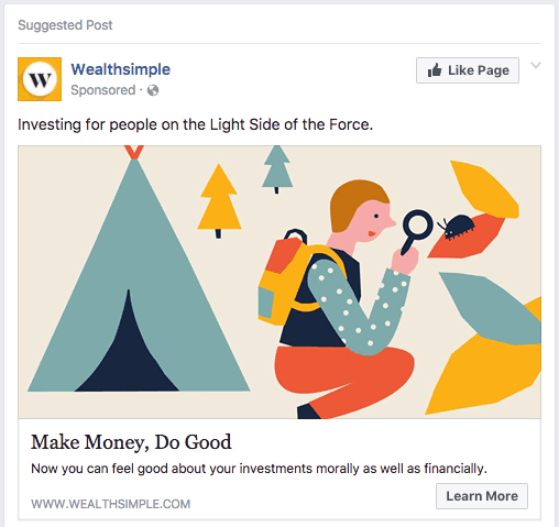 Example of a Paid Facebook Ad Placement by Wealthsimple
